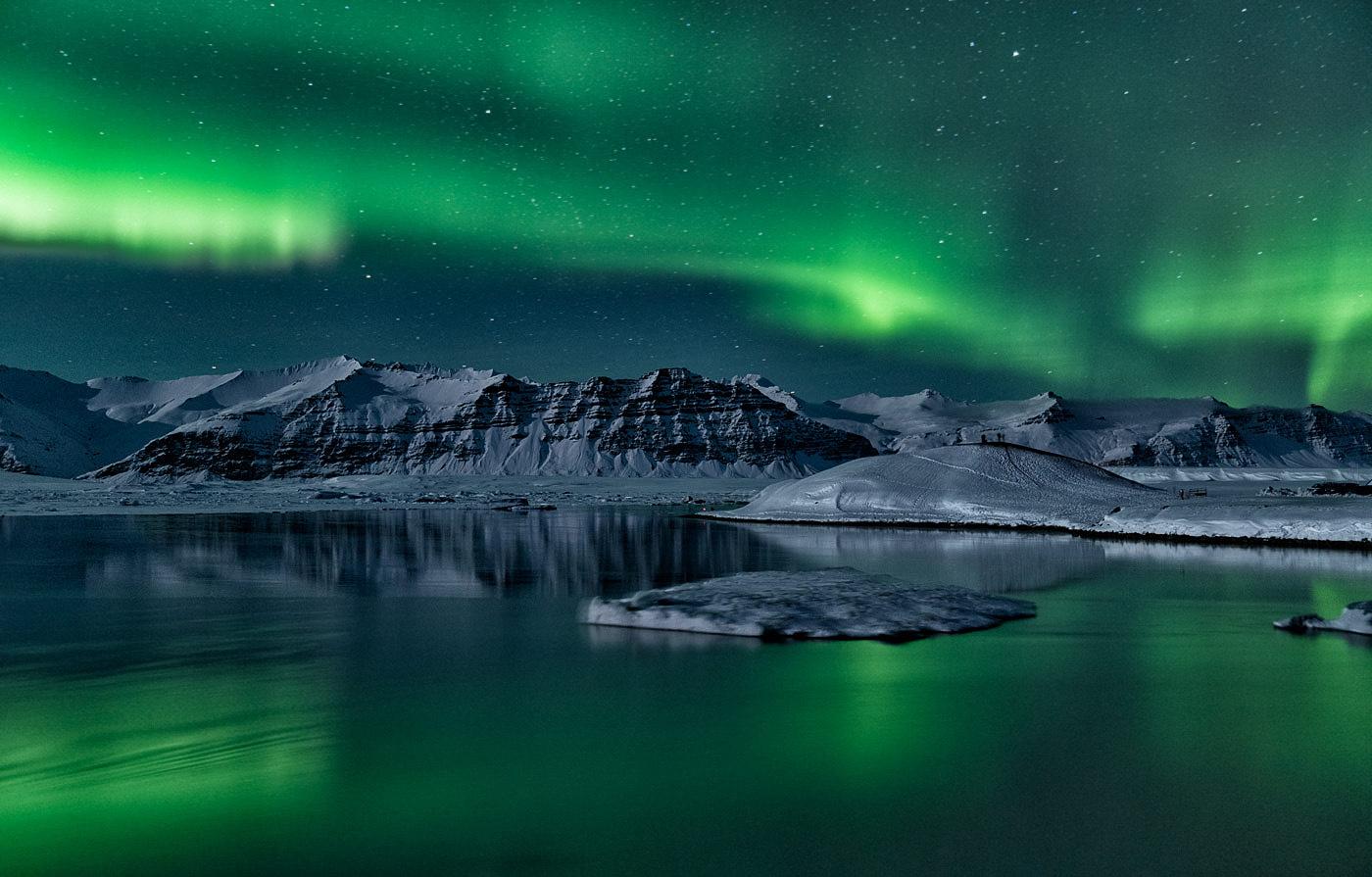 Ночь в Ледяной лагуне / Йокульсарлон (Ледяная лагуна), Исландия