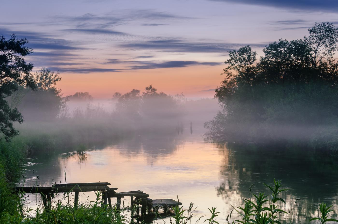 Туман вдоль реки  № 1281367 бесплатно